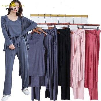 Autumn 3 Pieces Set Long Sleeve Modal Atoff Home Women's Loose Casual Pajamas Soft Cloth Plus Size Sleepwear - discount item  43% OFF Women's Sleep & Lounge