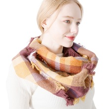 Fashion Cheap Seven color Plaid Cashmere Scarf Winter Colorful Warm Wool Scarves For Women plaid wool blended color blocking square scarf
