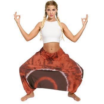 Ladies Boho Harem Pants Brown Circle 25