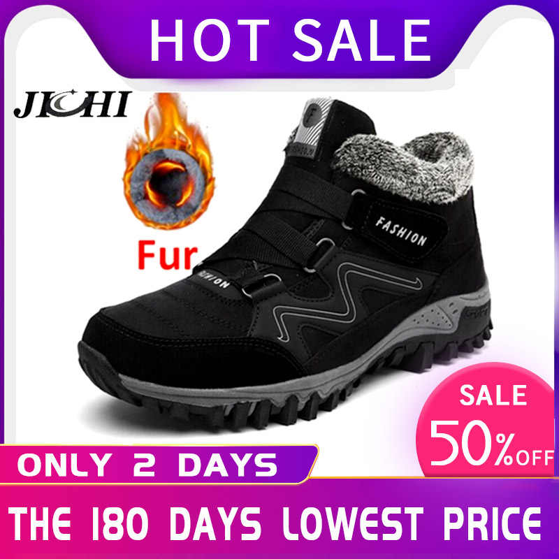 New Men Boots Winter With Plush Waterproof Snow Boots Fur Warm Casual Ankle Work Safety Rubber Shoes Comfortable Fashion 2019