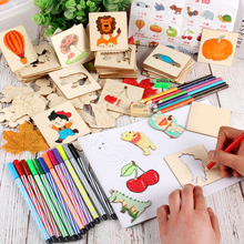 128 Montessori Creativ Children Stencil Toy Drawing Coloring Board Toys Montessori Painting Learning Toys Templates Tools