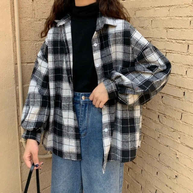 Women Blouses Turn-down Collar Spring Shirts Plaid All-match BF Batwing-sleeve Loose Outwear Harajuku Female 4 Colors Chic New 3