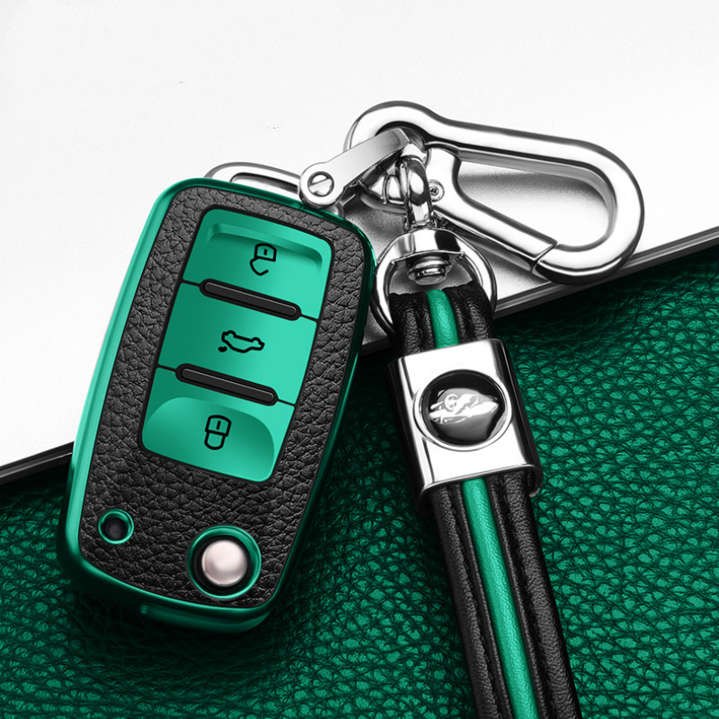 PU TPU Car Key Case For VW Volkswagen Polo Passat Golf Maggiolino Arteon Fox GLI Gol Skoda SEAT Ibiza Remote Keychain Cover