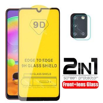 Para samsung a31 vidrio 9D cubierta completa de pegamento vidrio protector para samsung galaxy a31 a 31 a315F película protectora de pantalla de cámara