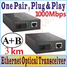 3km single mode Optische Faser Transceiver & Empfänger, 1250Mbps SC port, 1000Mbps RJ45 Port, RX/TX: 1550nm, RX/TX: 1310nm, Plug & Play(China)