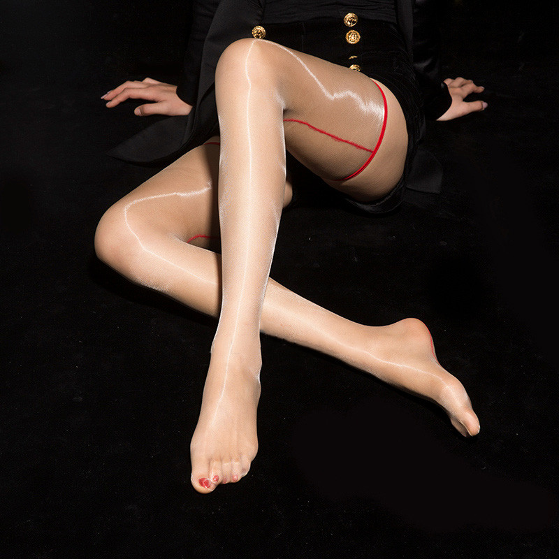 Women's Ultra Thin Thigh High Stockings Erotic Lingerie Over Knee Medias Ladies Shiny Nylon Stockings Transparent Silk Stockings
