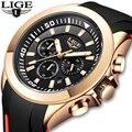 LIGE, 2019, повседневные, подарок, спортивные часы, мужские, хронограф, лучший бренд, Роскошные, военные, кожаные часы, мужские, модные часы, Relogio ...