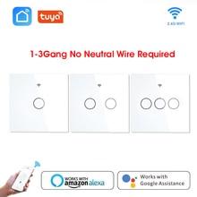Smart Switch WiFi Button Wall Light Switches EU 220V No Neutral Tuya Wireless Control Alexa Google Home Compatible