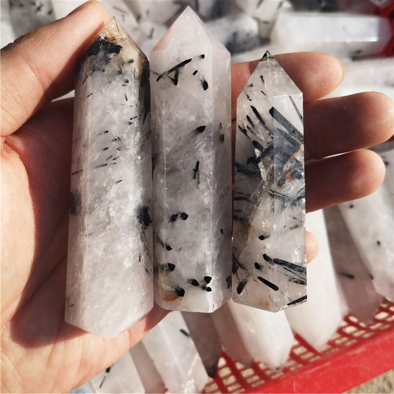 Натуральный кристалл, белый прозрачный кварц, черный турмалин, симбиотический кристалл, шестиугольная колонка, минеральные украшения для д...