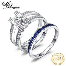 JPalace 만든 사파이어 CZ 약혼 반지 여성을위한 925 스털링 실버 반지 결혼 반지 신부 세트 실버 925 쥬얼리