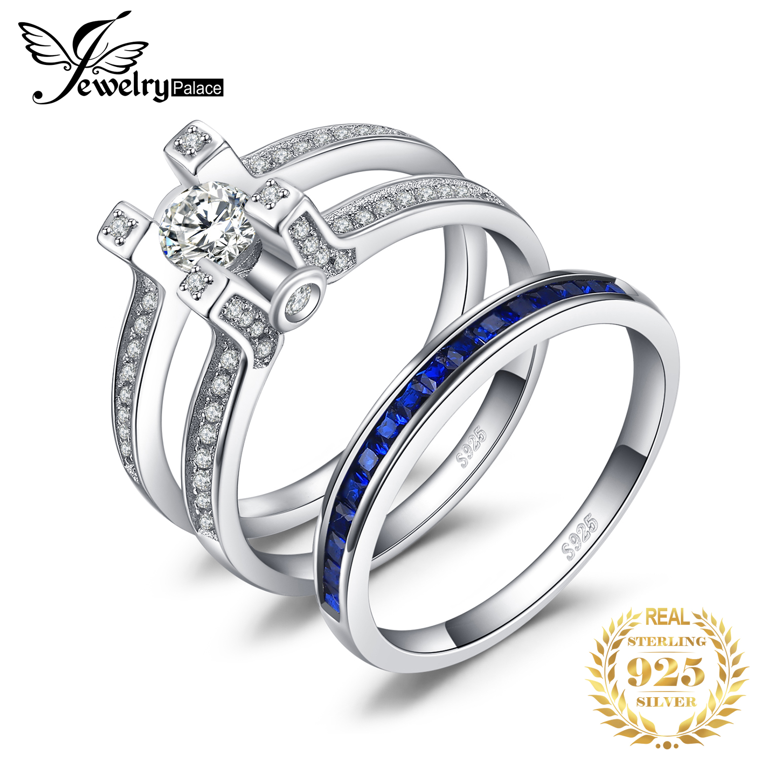 JPalace Created Sapphire CZ Engagement Ring 925 Sterling Silver Rings For Women Wedding Rings Bridal Sets Silver 925 Jewelry