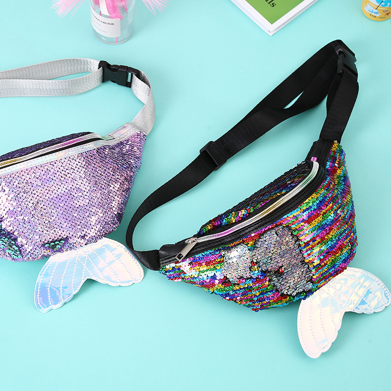 New Fashion Baby Pockets Mermaid Creative Sequined Children Fish Tail Shoulder Diagonal Sequined Bag Baby Harness Backpack