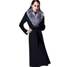 عالية الجودة معطف من قماش الكشمير امرأة الخريف الشتاء فوق الركبة سميكة معطف الصوف الدافئة ريال فوكس الفراء طوق المعتاد سميكة الصوف خندق