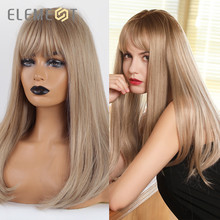 Element Long Straight Cosplay Wig Synthetic Blonde Golden Wigs with Bangs for White/Black Women Party Costume