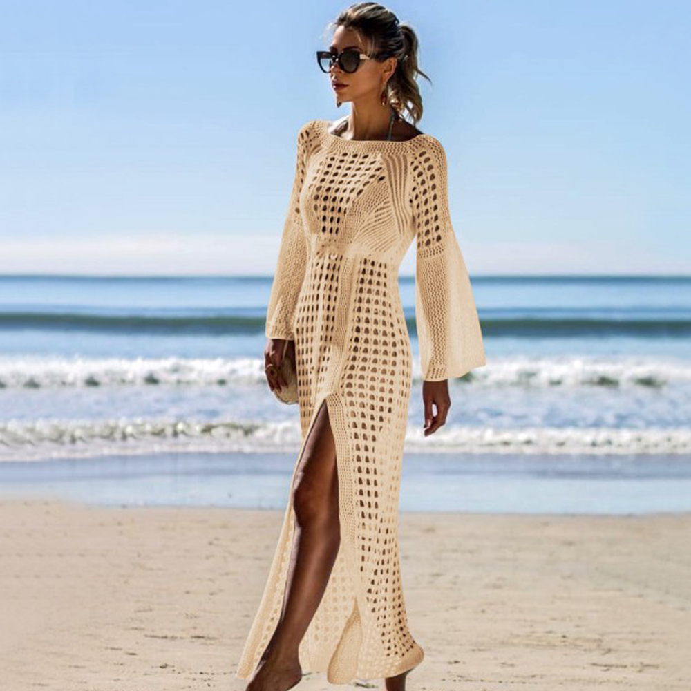 New Knitted Beach Cover Up Women Bikini Swimsuit Cover Up Hollow Out Beach Dress Tassel Tunics Bathing Suits Cover-Ups Beachwear 34