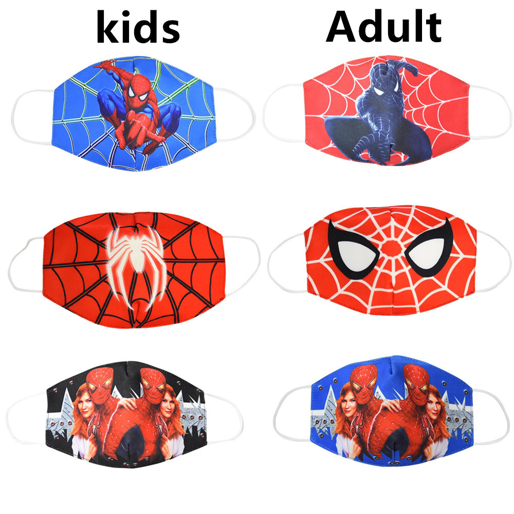 Hot Anti Dust Face Mouth Mask Reusable Breathable Cotton Protective Children Adult Spiderman Cartoon Cute Anti-Dust Mouth Mask