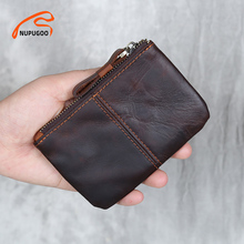 Genuine Leather Mini Coin Purse Men Wallet Slim Vintage Small Man Short Section Casual Card Wallets Little Pouch Bag NUPUGOO
