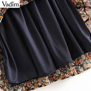 Image 5 - Vadim women retro chiffon floral pattern mini dress V neck bow tie sashes transparent long sleeve female casual dresses QD155