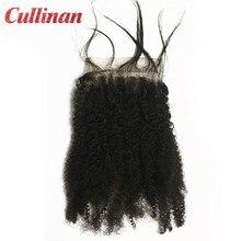 Human Hair Closure 4x4 Afro Kinky Curly Peruvian Natural Color 10