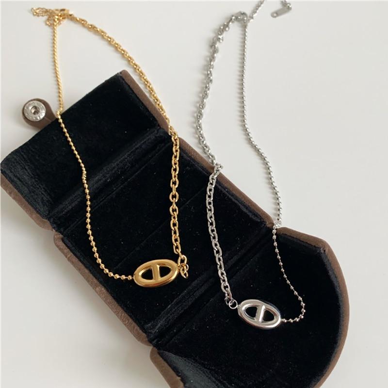 Ожерелье с подвеской в форме свиньи для женщин, ожерелье из нержавеющей стали, корейский бренд, ювелирные изделия, не выцветает, Z420, оригинальное качество Ожерелья с подвеской      АлиЭкспресс
