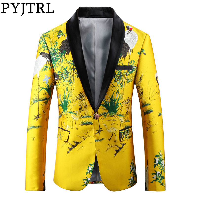 PYJTRL Men Luxurious Jacquard Yellow Gold Slim Fit Blazers Chinese Style Fashion Casual Suit Jacket Signers Clothing