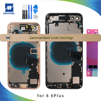 Full Housing for IPhone 8 8Plus Plus 8G Back Middle Frame Chassis Battery Door Rear Cover Body with Flex Cable Parts Assembly
