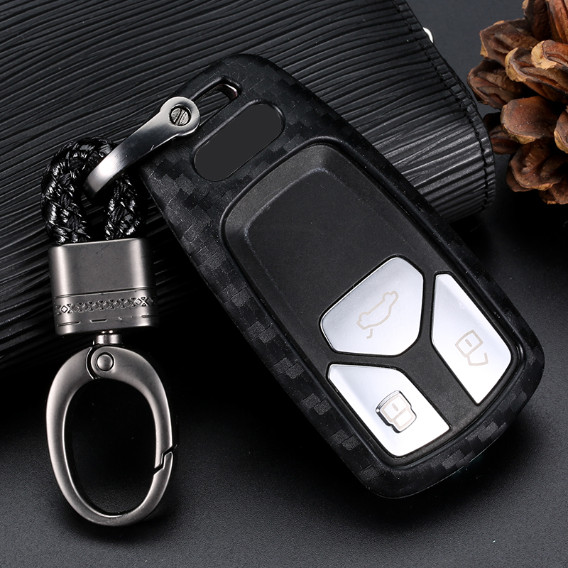 Silicone Carbon Fiber Car Key Cover Case For AUDI A4 B9 Q5 Q7 TT TTS 8S 2016 2017 Car Styling Key Shell Keyring