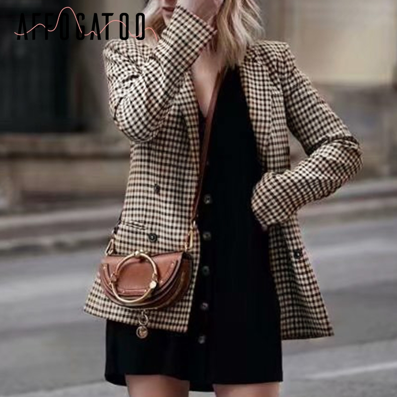 Affogatoo Fashion Double Breasted Plaid Blazer Women Long Sleeve Slim Ol Blazer Casual Autumn Jacket Blazer Female
