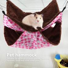 Pet Bed Pink Rabbit Double Layer Interlayer Warm Hammock Hanging Bed House Sleeping Bag for Squirrel Small Pets Pet Guinea Pig(China)
