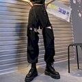 Женские брюки Jogges 2021 черные с высокой талией корейские женские свободные повседневные съемные прямые брюки-карго