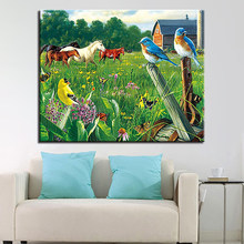 Oil Painting By Numbers DIY Hand Painted Meadow Bird and Horse Canvas Wall Art Coloring Pictures Drawing Home Decoration Gifts(China)