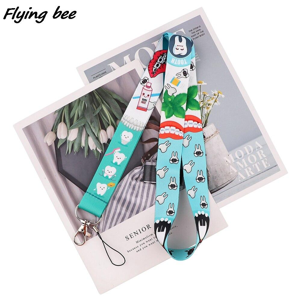 Flyingbee Protect Teeth KeyChain Lanyard For Doctor Dentist Hanging Neck Phone Lanyard ID Card Badge Holder Lariat Lanyard X1711