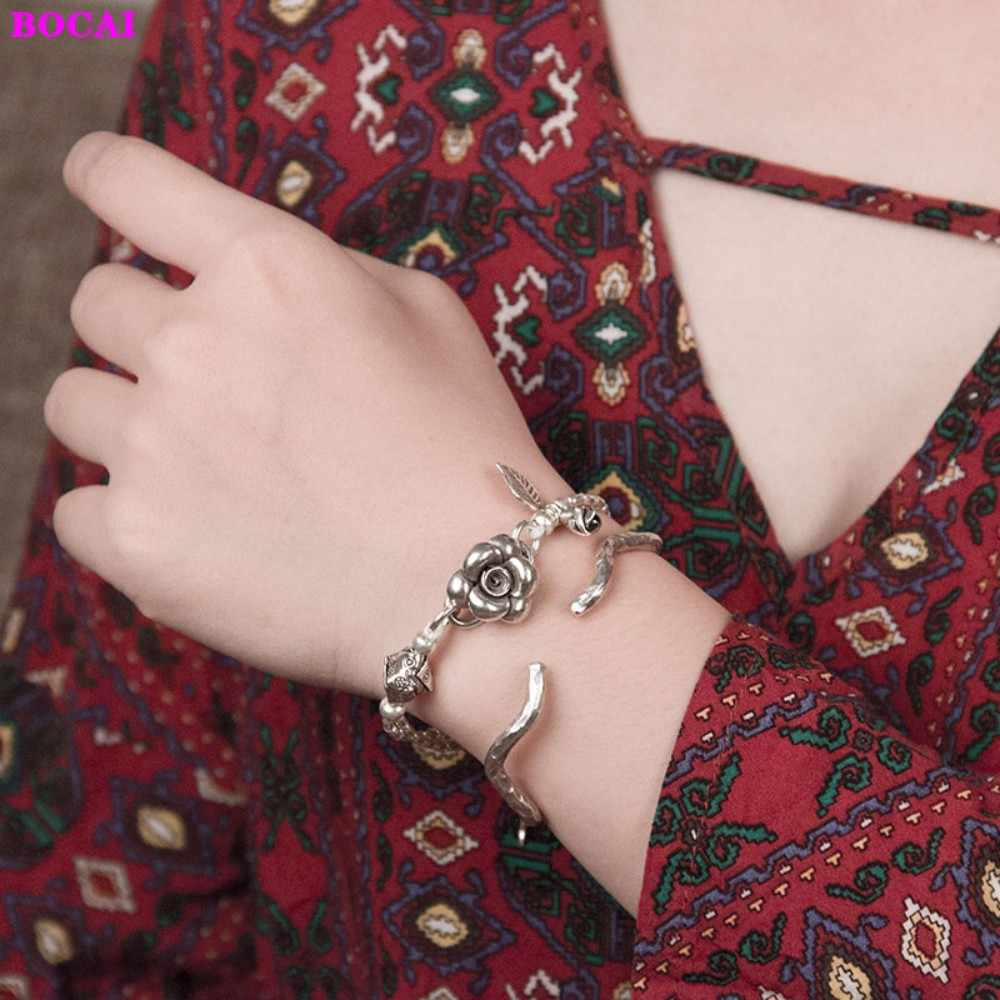 S990 فضة المرأة سوار التايلاندية الفضة يدوية روز s زر سوار الأصلي 2020 موضة جديدة الفضة والمجوهرات