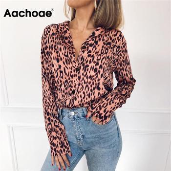Kobiety bluzki jesień Vintage bluzka lampart z długim rękawem skręcić w dół kołnierz pani koszula biurowa luźne góra Plus rozmiar Blusas Chemisier tanie i dobre opinie Aachoae Polyester REGULAR WOMEN Aplikacje Pełna Na co dzień Szyfonowa Leopard 7432 Blouses Shirts S M L XL XXL 3XL Leopard blouse