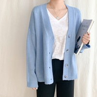 2019 South Korea Loose Fit Versitile Fashion Solid Color Light Blue Cardigan Sweater Coat Women's