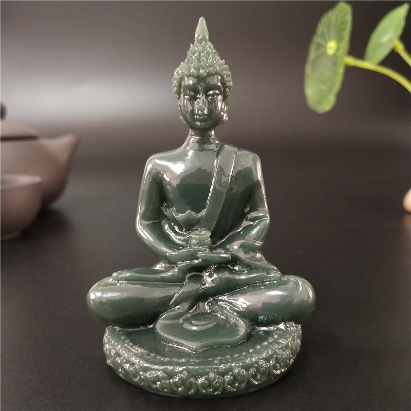 Thailand Buddha Statue Meditation Buddha Sculpture Hindu Fengshui Figurine Man-made Jade Stone Ornaments Home Decoration Statues