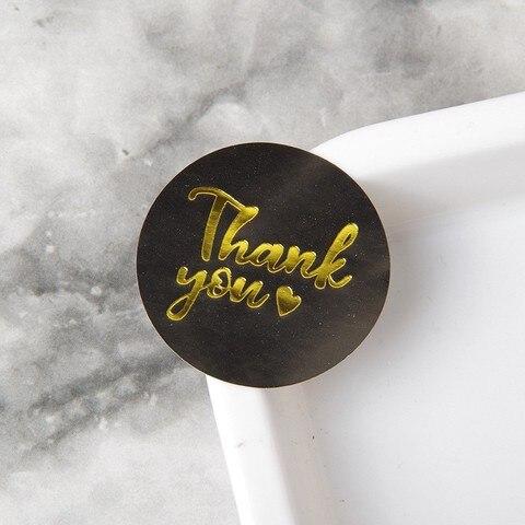 1000 pcs bronzing obrigado voce adesivos preto coracao selo etiquetas ouro negocio embalagem etiqueta de