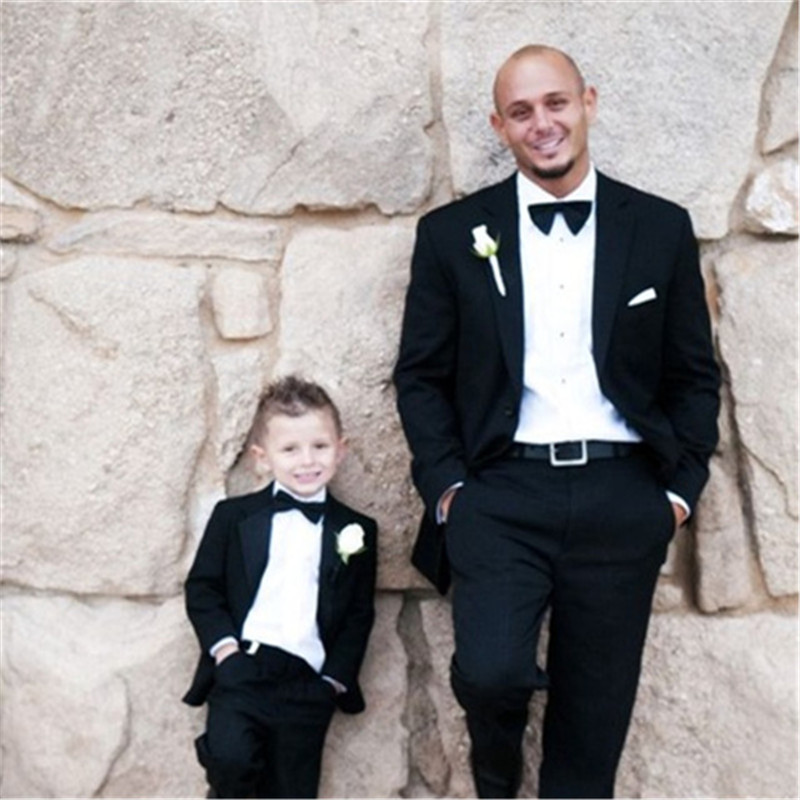 4 Pieces 2 Suit Father And Son Matching Suits Groom Tuxedos Groom Prom Tuxedo Trajes De Hombre Blazer(Jacket+Bow+Pant)