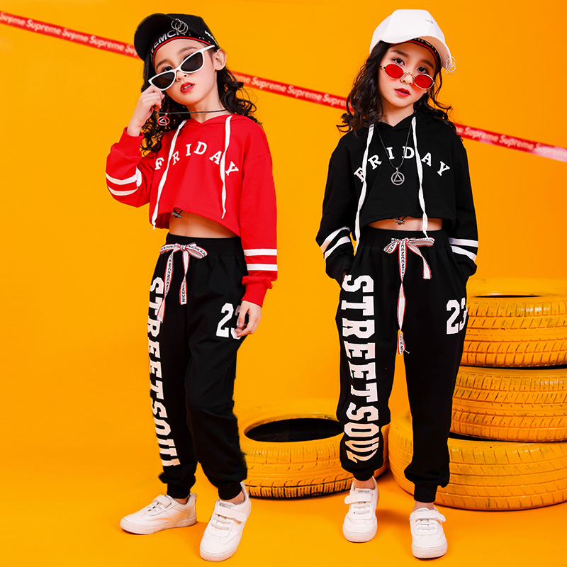 2020 Jazz Dance Costumes Hip Hop Kids Long Sleeve Hooded Top Vest Pants Girls Hiphop Clothes Street Dance Stage Show