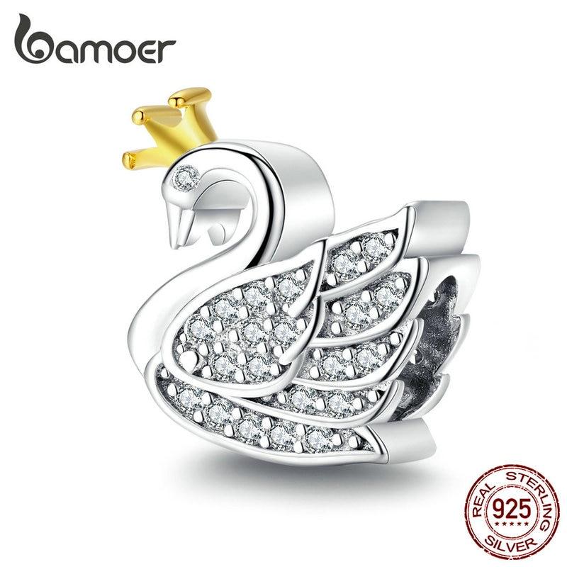 Bamoer Princess Swan Beads Charm For Women Charms Silver 925 Original Beads Fashion Bijoux DIY Jewelry Bracelet Bangle SCC1343