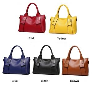 Image 5 - Bolsa feminina amarela de couro sintético, bolsa feminina de marca famosa, preta, azul, feita em couro sintético w805