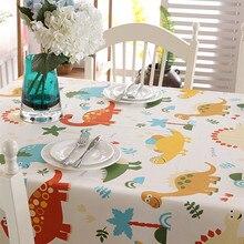Padrão de dinossauro bonito pano de mesa de algodão moderno crianças casa jantar toalha de mesa 1pcs retângulo toalha de mesa