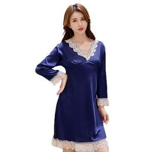 Image 5 - 2020 yaz bayan gece elbisesi dantel Trim Mini gecelik saten pijama v yaka gecelik rahat ev sabahlık sabahlık