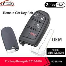 KEYECU OEM zbliżeniowy inteligentny pilot z kluczykiem samochodowym 433MHz 4 przyciski 4A dla Jeep Renegade 2015 2016 2017 2018 FCC ID: M3N-40821302