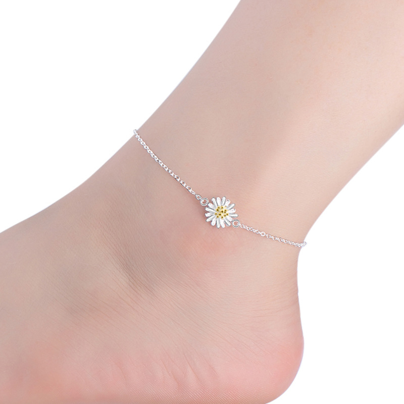Daisy silver plated anklet Sun flower jewelry for feet ankle bracelets yellow chrysanthemum foot accessories jewelry for womens