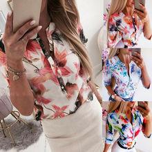 Summer Women 3/4 Sleeve Floral Loose Blouses Tops Woman Female Shirt OL