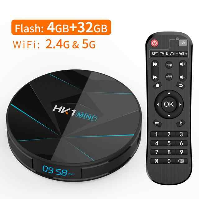 HK1 MINI + Android 9.0 Smart TV BOX RK3318 Quad Core 4K Android TV WIFI, BT4.0 zestaw Top odtwarzacz multimedialny Box