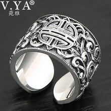 V.YA เงินแท้ 925 สไตล์ชาติพันธุ์แหวนผู้ชายแหวนกว้าง 3D CLEAR แกะสลักแหวนเปิด VINTAGE เครื่องประดับชาย