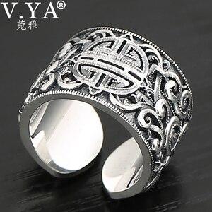 Image 1 - V.YA حقيقية الفضة 925 العرقية نمط خاتم للرجال كبيرة واسعة خواتم ثلاثية الأبعاد واضح محفورة حلقة مفتوحة Vintage الذكور المجوهرات