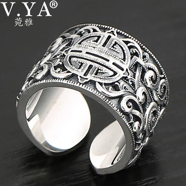 V.YA حقيقية الفضة 925 العرقية نمط خاتم للرجال كبيرة واسعة خواتم ثلاثية الأبعاد واضح محفورة حلقة مفتوحة Vintage الذكور المجوهرات